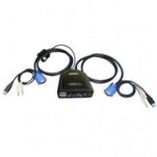 Kvm Eminent 2 Puertos USB y Audio Automatico Incluyendo Cables