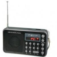 Radio Nevir Digital de Bolsillo Sintonizadora Lector Microsd Negro con Correa de Mano