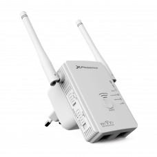 Repetidor  /  Router  /  Punto de Acceso Phoenix PHW-REPEATER300+ Wifi N / g / b 300mbps 10 / 100 Amplificador Cobertura Wifi  /  2 X Antenas  /  1 X Lan  /  1 X Wan / lan Blanco