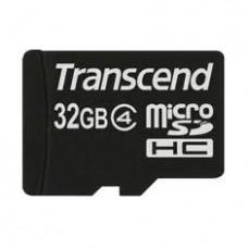 Tarjeta Memoria Micro Secure Digital 32GB Sdhc CLASE4 Transcend + Adaptador Sd